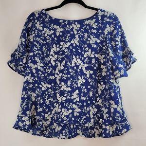 Black Tape Blue White Floral Top